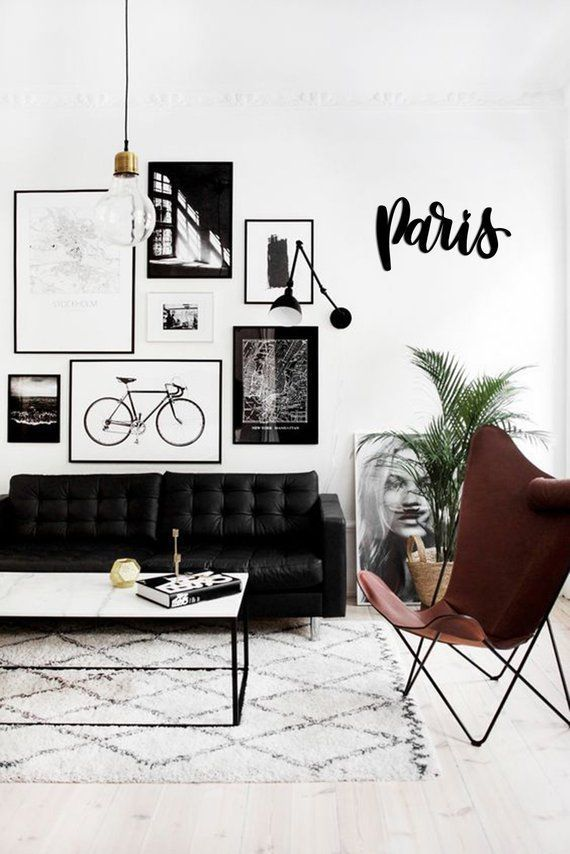 Paris Metal Word Wall Art Letters Home Decor Hanging Sign Gift Words Scandi Style Steel Farmhouse Industrial Rustic Homemade Signs Living Room Scandinavian Minimalist Living Room Home Living Room