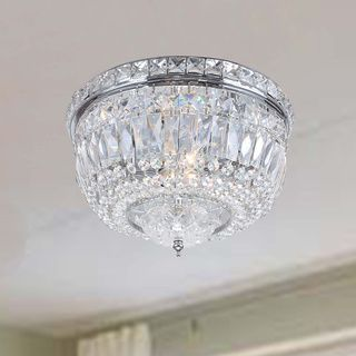 Nerisa Chrome Crystal Flush Mount Chandelier | Overstock.com Shopping - The Best Deals on Sale
