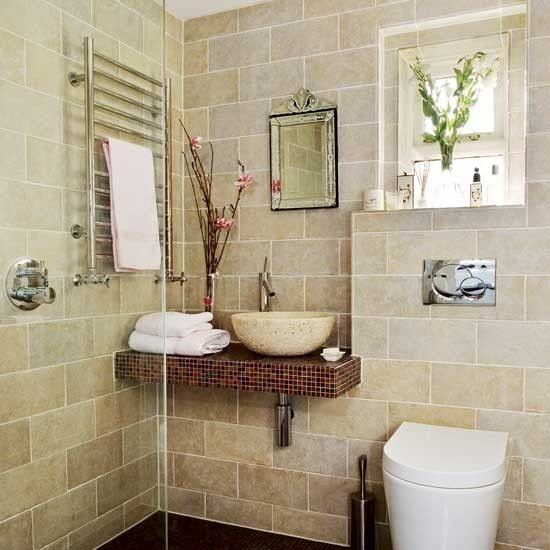 Tiled wetroom | Cream bathroom | Bathrooms | Image | housetohome.co.uk  Like this for the downstairs guest bathroom