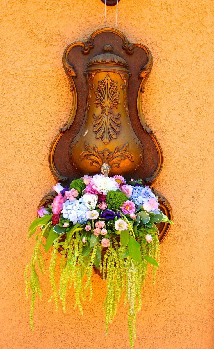 secret garden, flower waterfall, fountain, flowers, hydrangeas, stock, bridal shower decorations