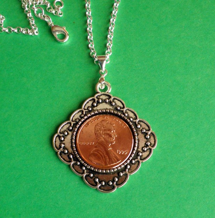 1995 21st Birthday Pendant, 1 nickle Necklace, President Lincoln Coin, Sterling…