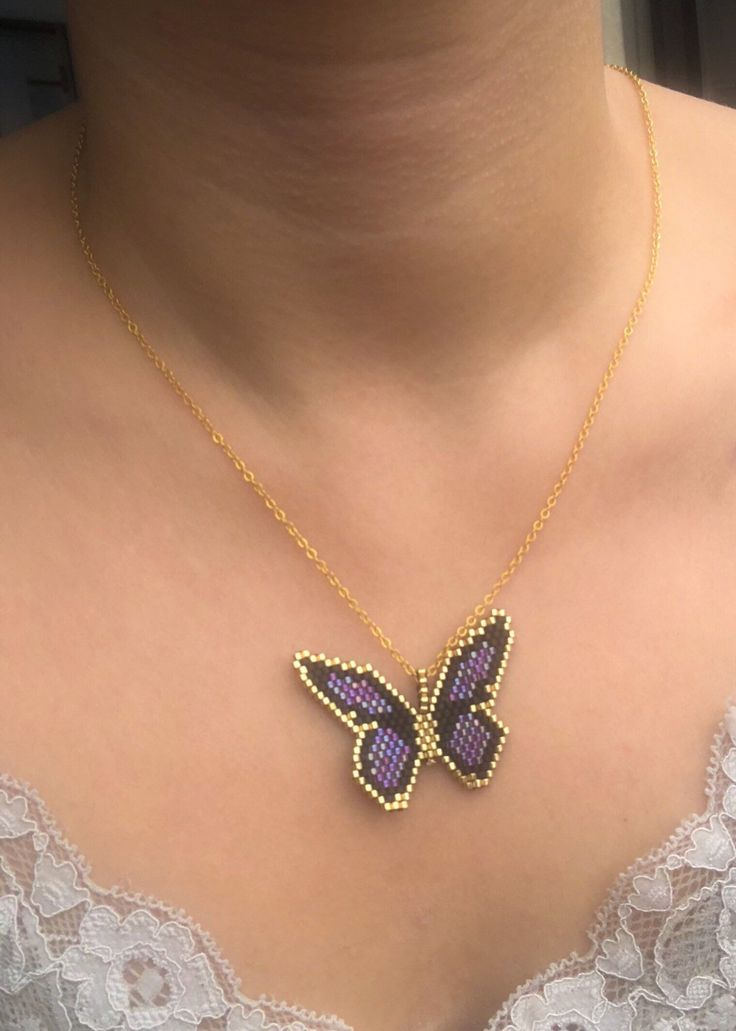 Miyuki butterfly necklace with gold filled chain designed by | Etsy