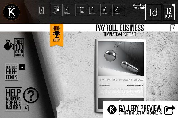 Payroll Business Template A4 by Keboto on @creativemarket