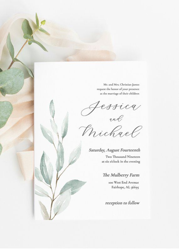 photo about Etsy Wedding Invitations Printable identify Greenery Marriage Invitation, Marriage ceremony Invitation template