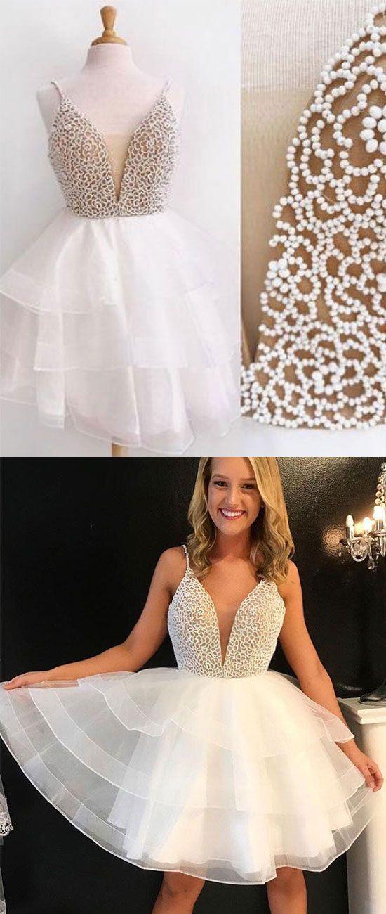 d070e9909c2 White v neck tulle beads short prom dress