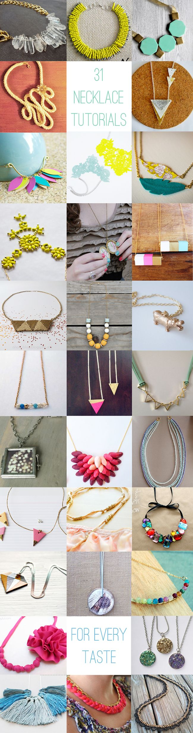 31 DIY necklaces to suit all styles! Learn how to make necklaces using a variety of materials and techniques.