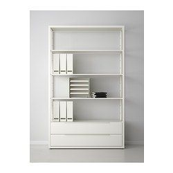 """FJÄLKINGE Shelving unit with drawers - IKEA The long, slender shelves give the shelving unit a light and airy look. And the clean, simple lines make it easy to combine with many styles of furniture. Read more Size 46 1/2x76"""""""