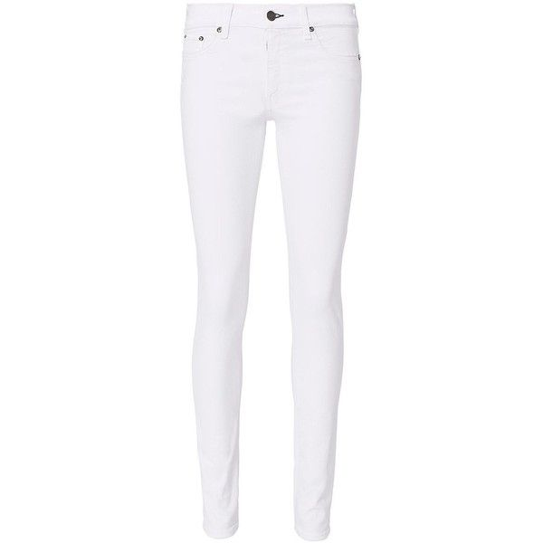 Rag & Bone Women's Mid-Rise Skinny White Jeans ($195) ❤ liked on Polyvore featuring jeans, white, zip jeans, skinny leg jeans, mid rise jeans, white jeans and 5 pocket jeans