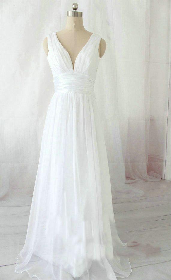 cheap white off shoulder long chiffon beach wedding dress | Cheap beach wedding dresses Sale