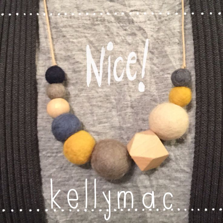 Felt and wooden beads.