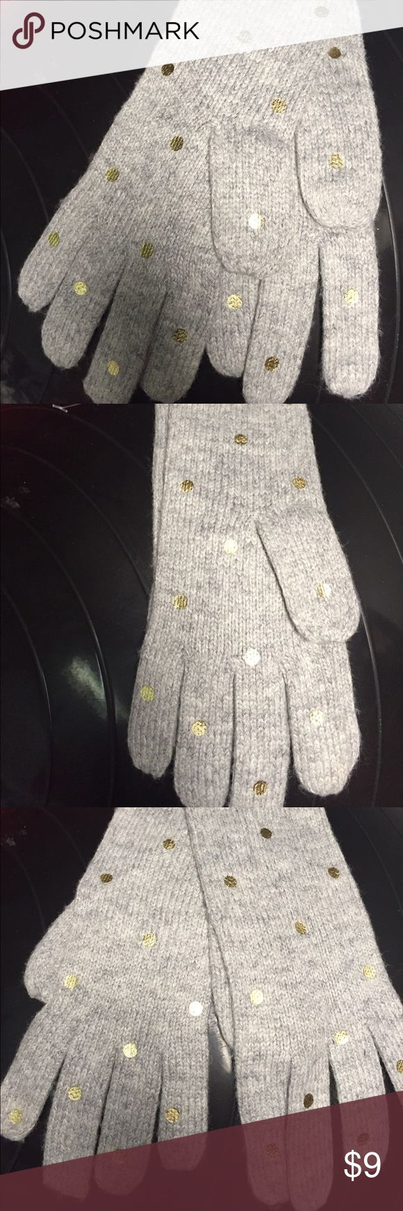 Gray gloves with gold polka dots New, never used gray gloves with gold polka dots Old Navy Accessories Gloves & Mittens