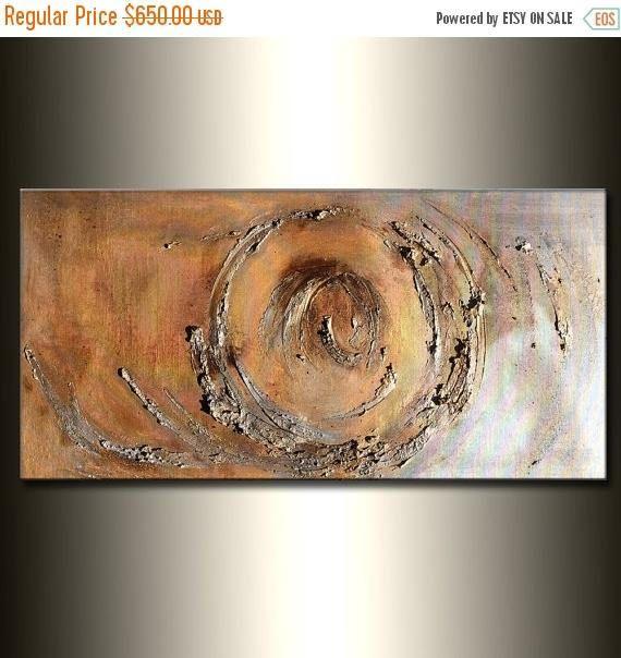 Texture or et argent métallique peinture abstraite moderne Art mural contemporain sur toile par Henry Parsinia 48 x 24