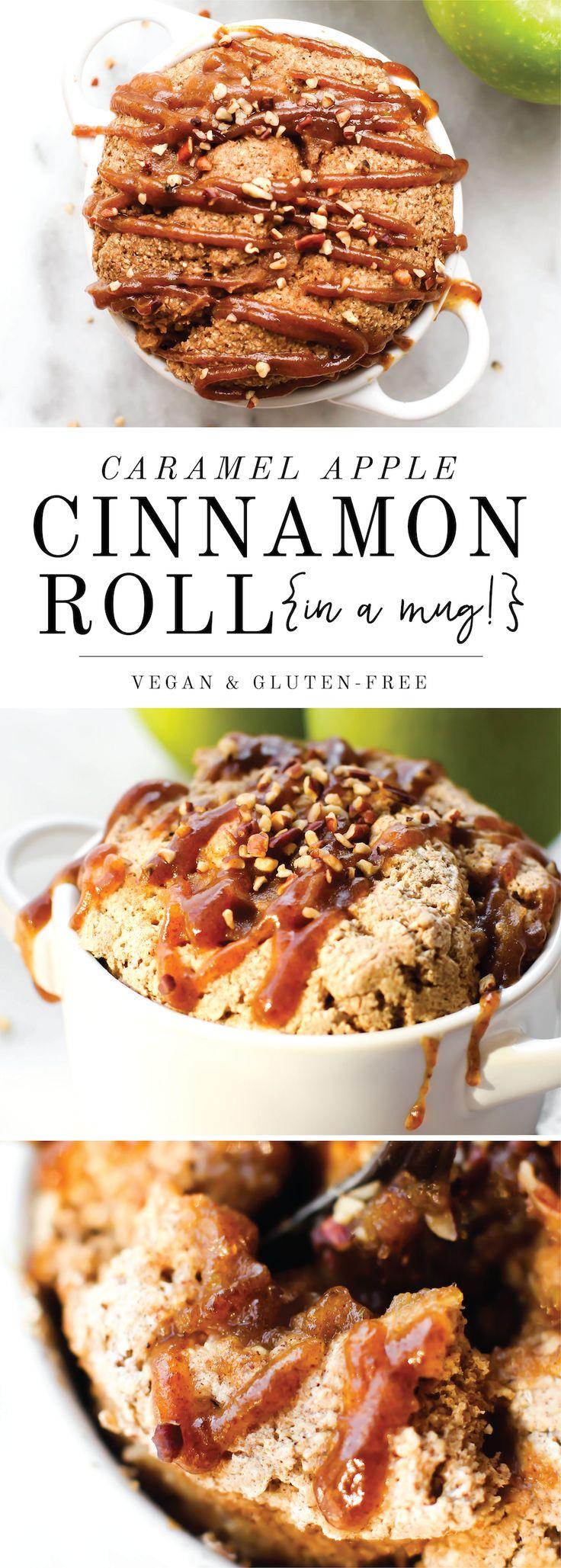 Caramel Apple Cinnamon Roll Mug Cake | Vegan, Gluten-Free, Oil-Free