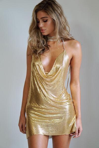Pacha Gold Glomesh Mini Dress-Dress-Body Kandy Couture