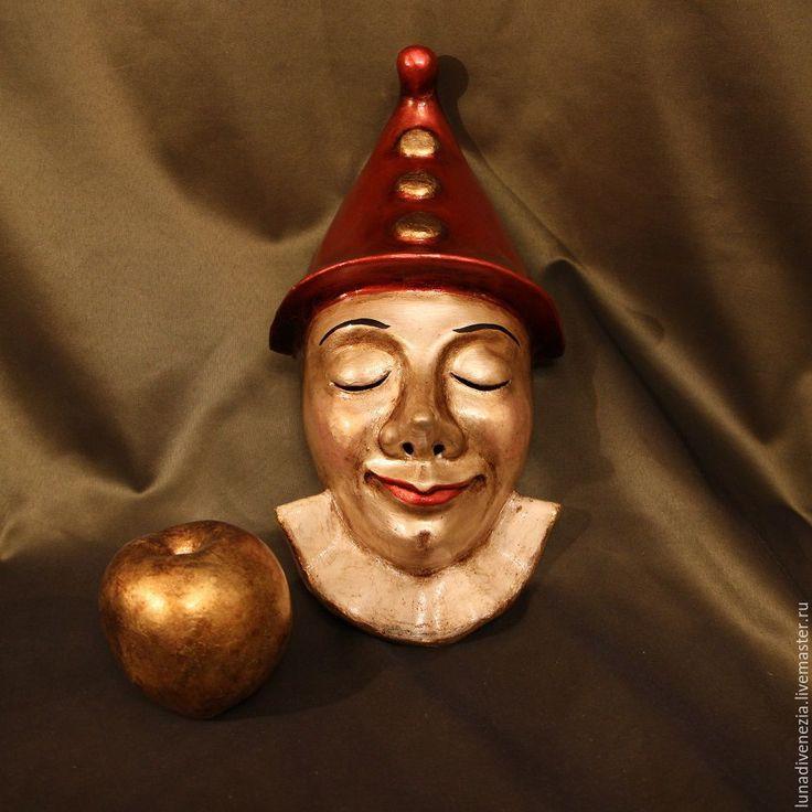 Купить Маска венецианская Пиноккио Фьорентино (интерьерная) - ярко-красный, Папье-маше, венецианская маска