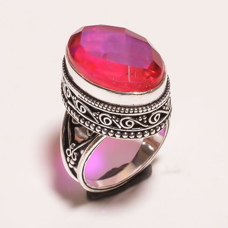FACETED MYSTIC TOPAZ QUARTZ .925 SILVER CARVING JEWELRY RING SIZE 6.75 (JA648) #Handmade
