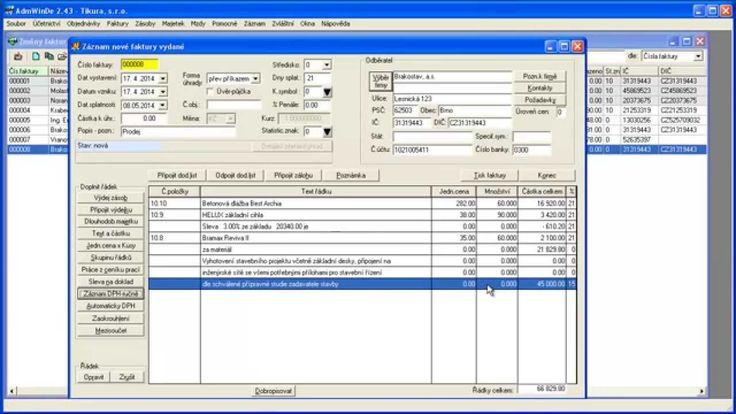 Další část záznamu zapsání položek faktury - Jak přidat na fakturu slevu, mezisoučet a zapsat DPH