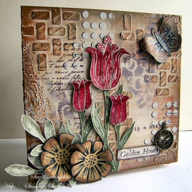 PaperArtsy:  Sue Carrington Created this beauty with Grunge Paste, Fresco Finish Acrylics Lin & Sara Eclectica³ Stamps and Treasure Gold.
