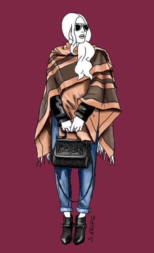 Ein Poncho macht einfachste Outfits top-chic und peppt vor allem die Silhouette von H- und Y-Figuren auf. Über der Schulter drapiert ist er auch für den A-Figurtyp tragbar.