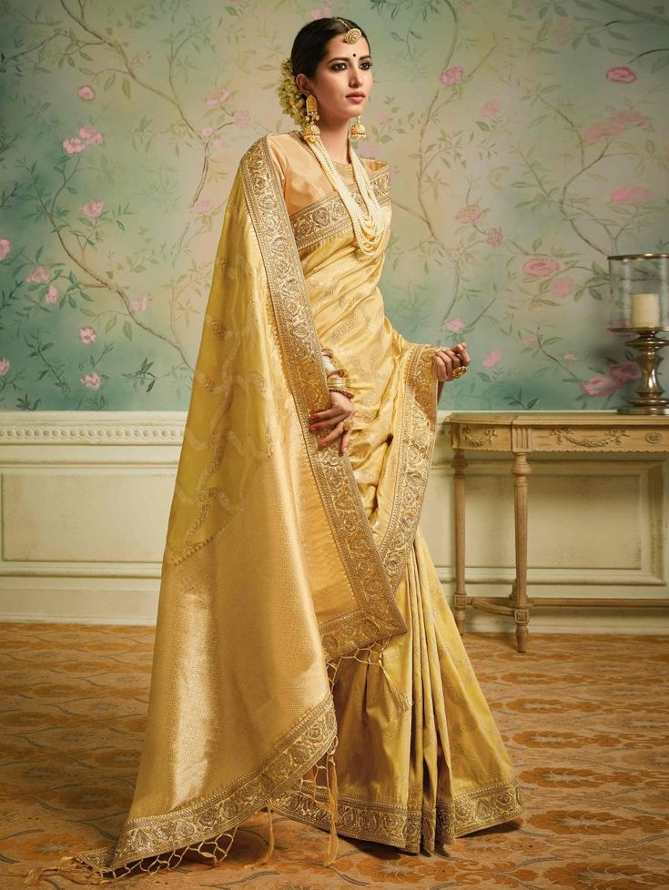 Golden Art Silk Saree with Weaving