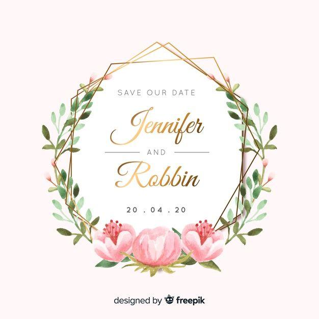 Watercolor Wedding Invitation Free Vector Free Vector