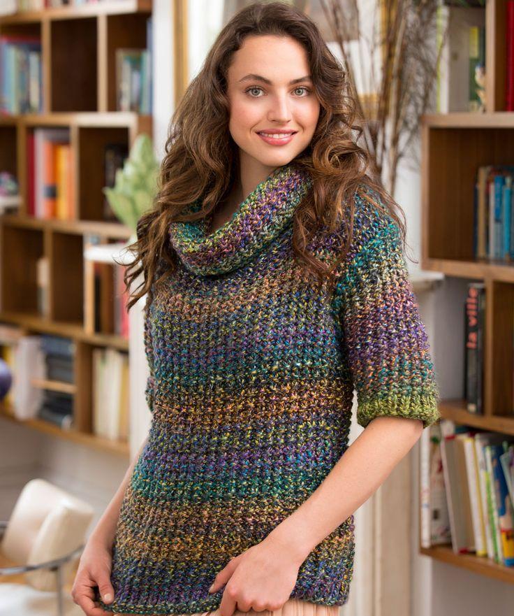 Este estambre tiene unos hermosos destellos que harán que tu tejido sea más sencillo, ya que no es necesario poner grandes puntadas para que luzca. Este suéter es muy rápido y sencillo de hacer...