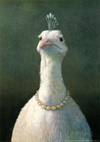 Adorable, hilarious, and weirdly pretty. Love it above the bed :) Fowl with Pearls Prints by Michael Sowa at AllPosters.com