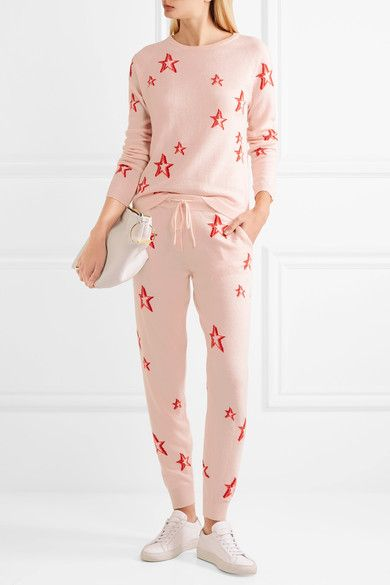 Chinti and Parker - 3d Star Intarsia Cashmere Track Pants - Pink -