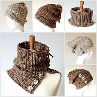 Inspiration for drawstring cowl/cap combo.  This one is crocheted, easily adaptable to a knit version