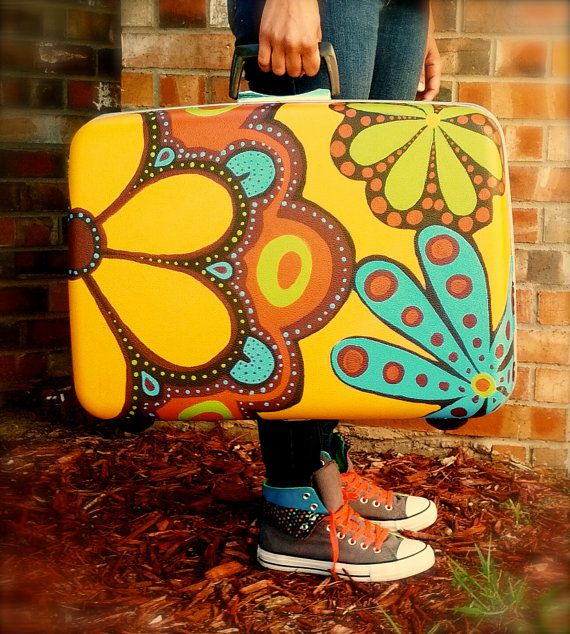 Hand painted Samsonite Luggage Hippie style Hippie Hugs with Love, Michele•♥•