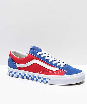 d678584b12 Vans Style 36 BMX Red, White & Blue Checkerboard Skate Shoes ...