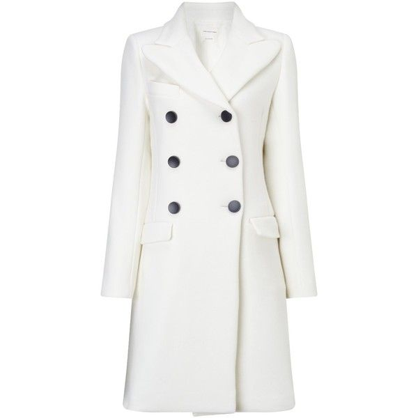 Isabel Marant Étoile Ivory Double Breasted Wool Blend Coat (8.836.895 IDR) ❤ liked on Polyvore featuring outerwear, coats, casacos, white, long sleeve coat, ivory coat, double-breasted coat, white wool blend coat and white winter coat
