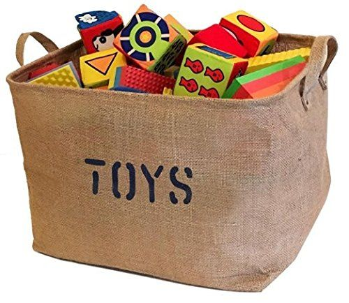 "Jute Storage Bin 17 x 13 x 10"" perfect for Toy Storage. Storage Basket for organizing Baby Toys Kids Toys Baby Clothing Children Books Gift Baskets."
