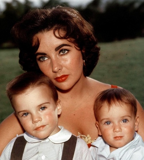 Liz with sons Michael Wilding, Jr & Christopher Wilding, 2nd marriage to Michael Wilding