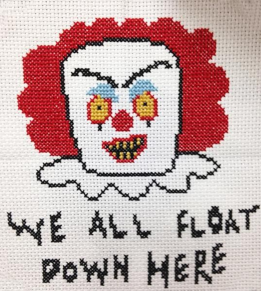"""This cross stich DIY Kit features our illustrated version of Pennywise, the scary clown from the book/film """"IT"""".It features the line """"We all float down here"""".Su"""