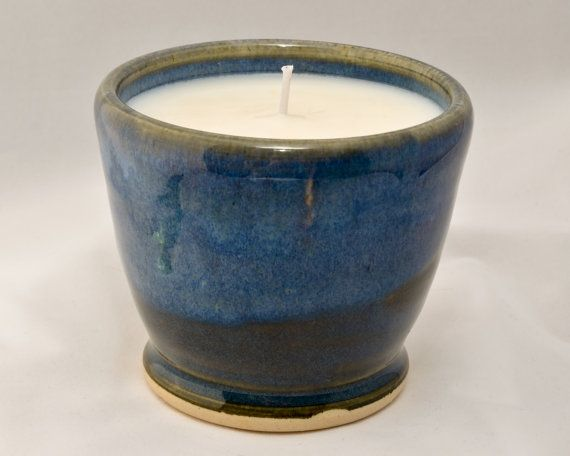 Pottery - This is a small, hand made, wheel thrown soy candle. The pot is made from a white stoneware simply called a b mix. For sale by me on Etsy for $10.00!