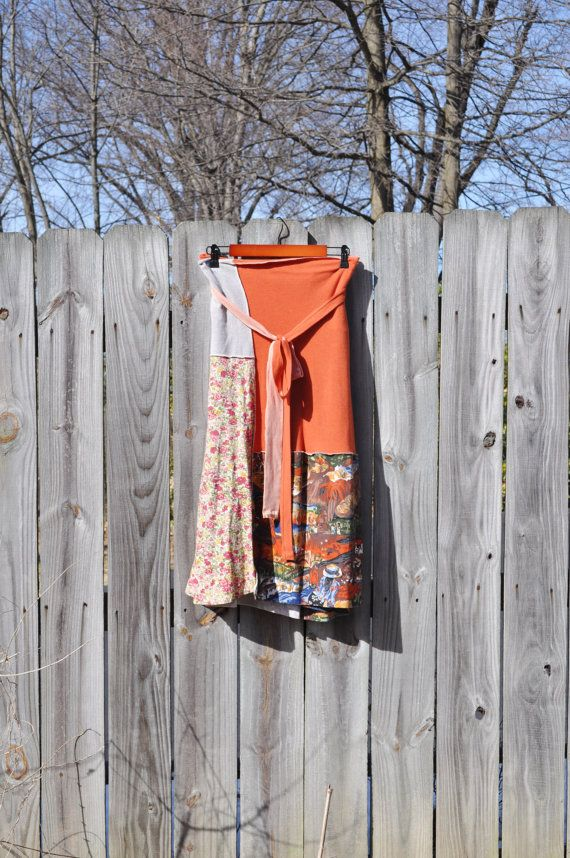 Boho Rustic Wrap Skirt/ T Shirt Wrap Skirt  by RebirthRecycling, $65.00
