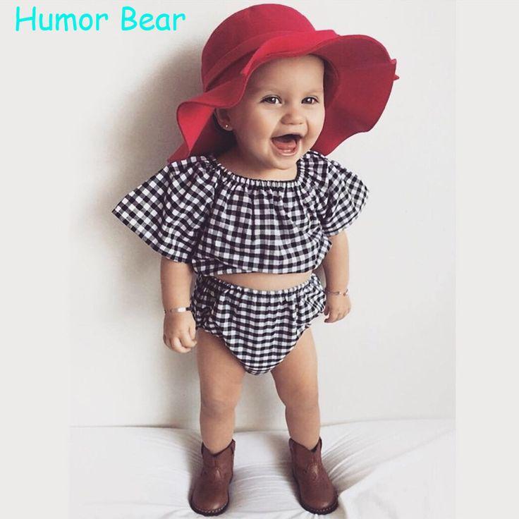 Humor Beruang Gaya Baru Musim Panas Kotak-kotak Bayi Perempuan Pakaian Set Katun Setelan Set Anak Pakaian Bayi Pakaian Set