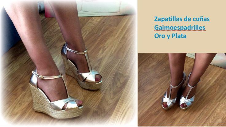 Zapatillas esparto de plata y dorada en facebook.com/Patriciocerrato