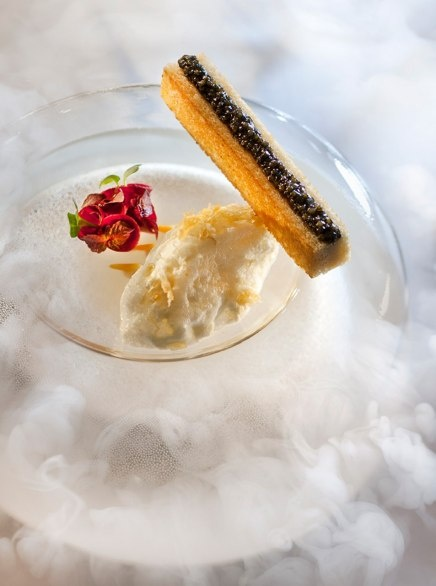 Thierry Marx's shellfish mousse with caviar crostini at Sur Mesure in Paris