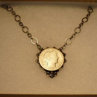Silver half dollar necklace