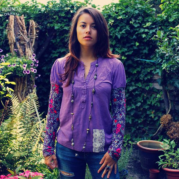 Bohemian Top Purple Shirt Sleeves Patchwork by TheBohemianDream