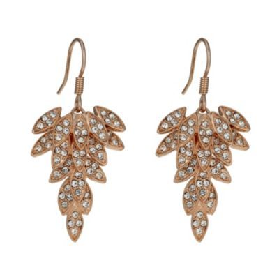 Rose Gold-Plated Crystal Leaf Drop Earrings- H. Samuel the Jeweller