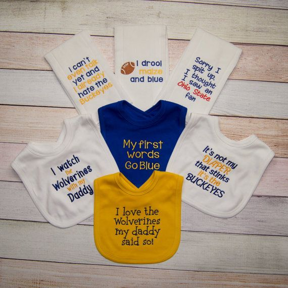 University of Michigan Footballl Fan Embroidered Baby Gift - Michigan Wolverines Baby - Michigan Wolverines Baby Bib -