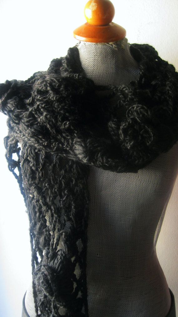 the warm woolen scarf with beatiful flowers. Vintage but total new in perfect condition,  comes from clothing-accessories shop that closed at end of 1990s.PRICE 18euros https://www.etsy.com/listing/501763153/woolen-black-scarf?ref=listing-shop-header-2
