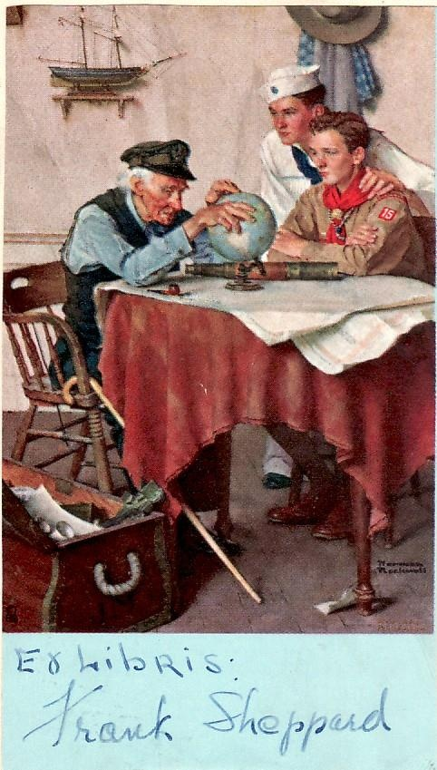 Norman Rockwell-Sea Scout and Boy Scout look at globe with old sailor.