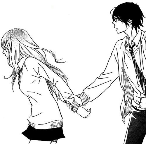 Anime couple, , manga couple, , black and white