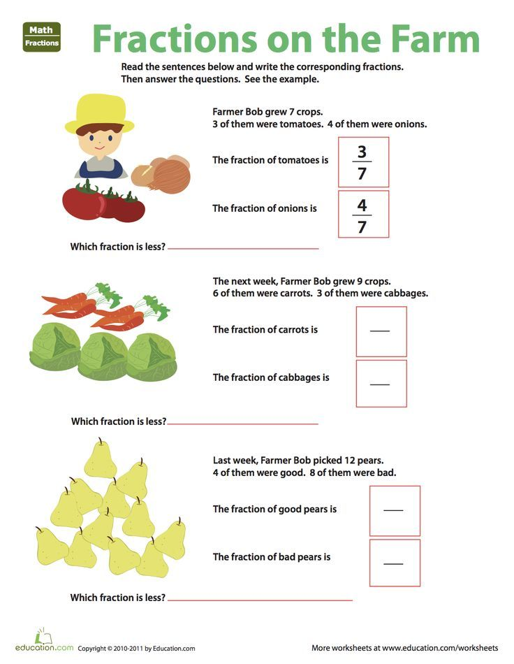 Fraction Practice Fractions On The Farm Worksheet Education Com Fractions Fraction Practice Basic Math Skills