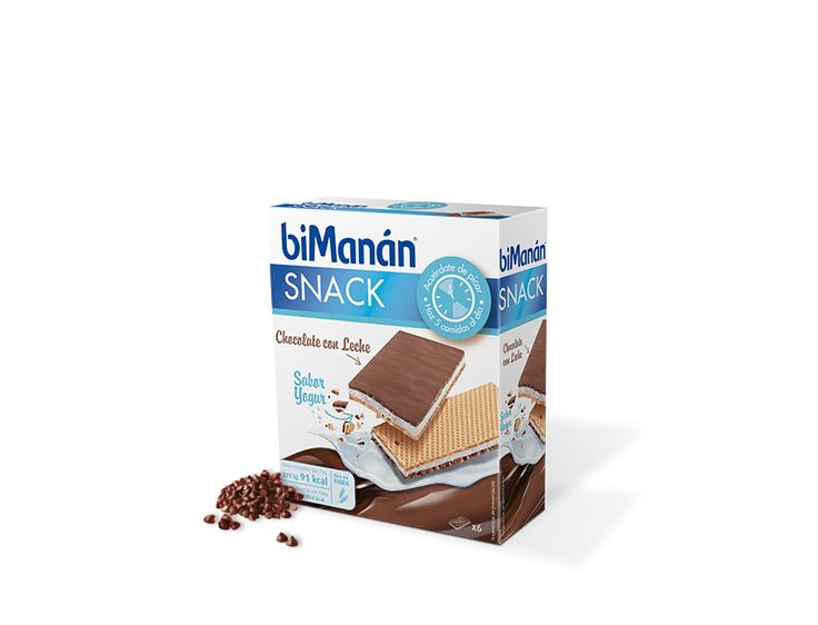 Barquillo de chocolate con leche y relleno sabor Yogur. #biManán #biManánSustitutive #Snacks