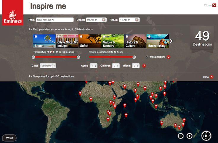 """Regardez comment #Iberia, #Emirates ou #easyJet traite la fonctionnalité web """"donne-moi des idées de ce que je peux consommer chez toi"""" Une source d'inspiration pour les sites destinations ..."""